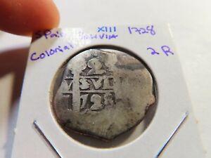 X111 Bolivia 1728 Silver Cob 2 Reales