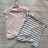 Baby Girls 0-1 Months - Short Sleeve Romper x 2 NEXT Pink White Stripe Babygrow