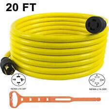30 Amp 20 Ft Nema L14 30 4 Wire 10 Gauge 125250v Generator Power Cord Adapter