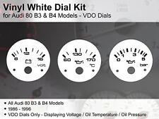 Audi 80 - B3 & B4 Models (1986 - 1996) VDO Dials / Gauges - Vinyl White Dial Kit