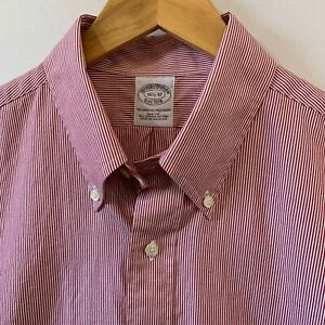 Brooks Brothers Slim Fit 16.5-32 100% Cotton Fine Red Stripe Pre-owned