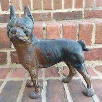 Vintage Hubley Boxer Boston Terrier Dog Cast Iron Door Stop 6 Lbs 6 ozs