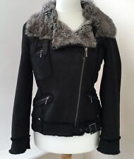 Next Black Biker Style Fur Collar Jacket Coat Size 10