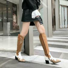 Womens Pointed Toe Cowboy Boots Western Chunky Mid Heels Vintage Knee High Boots