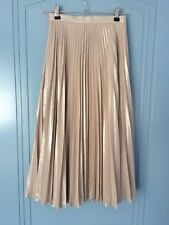 Forever New champagne rose gold metallic pleated midi skirt size 4