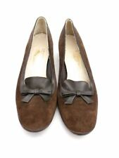 1970s VTG Ferragamo Low Heels Pumps Loafers Brown Suede 6.5 N Leather Soles Box
