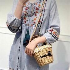 Daisy Flower Straw Bucket Bag Women Mini Basket Embroidery Letter Shoulder Tote