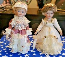2 Vtg Victorian Porcelain Dolls w/ Stands Holsted House Lady Danielle Mint