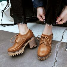 Womens Casual Round Toe Lace Up Platform Block High Heels Shoes Casual Oxfords