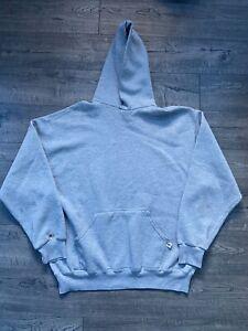 Vintage 1990s Distressed Blank Russell Athletic Hoodie Sweatshirt Size XL Grey
