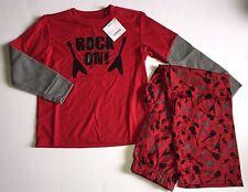 NWT Gymboree Sz 7 Boys Long Sleeve Red Rock On Guitar Skull Pajamas