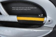 NERO & GIALLO 2x PANTHERS PORTA BRACCIOLO IN Pelle Cover Adatta per BMW Mini Cooper 01-03