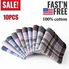 10pcs Large Squared Old Man Mens Handkerchiefs 100% Cotton Classic Fine Hankies
