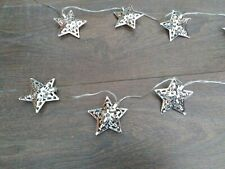 Silver Pierced Star String Lights Fairy Lights Party Wedding Decoration VGC