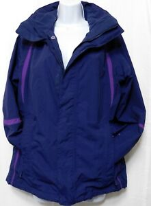 THE NORTH FACE HyVent Hooded Double Zip Ski Jacket M Parka Navy Purple