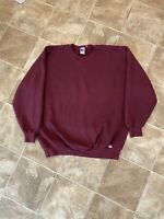 Vintage Russell Athletic Maroon Sweatshirt Men's Crew Neck Made in USA Size XXL