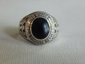 Sterling Silver Black Stone United States Military Ring Sz 9.75