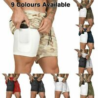 """Mens Workout 2 in 1 Shorts 7"""" Running Gym Athletic Fitness Jogging Phone Pocket"""