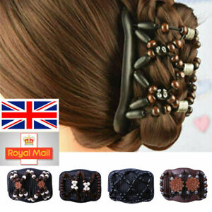 Women Magic Beads Stretch Double Hair Comb Clip Hairpin Headwear Decoration UK