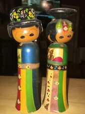 Pair of Vintage Kokeshi Dolls Man Woman Bobble Heads Hand Painted Wood Japan
