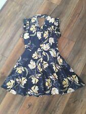 Zara Size Medium 12 14 Blue Yellow Floral Frill Sleeve Playsuit Holidays Summer