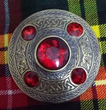 """Scottish Kilt Fly Plaid Brooch Red Stone Antique Finish 4"""" Celtic Pin Brooches"""