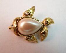 Monet Pearl Fish Pin Brooch Designer Brilliant Gold Plated Rhinestone Eye NICE!