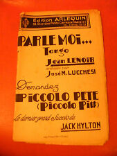 Partition Parle moi... Tango Jean Lenoir José Lucchési