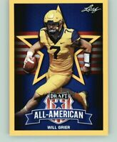 """WILL GRIER 2019 LEAF ALL-AMERICAN """"1ST EVER PRINTED"""" GOLD PARALLEL ROOKIE CARD!"""