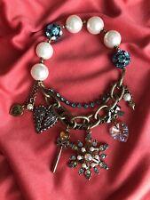 Betsey Johnson Snow Angel Winter Snowflake Wing Heart Fairy Wand Pearl Bracelet