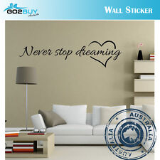 Wall Stickers Removable Never Stop Dreaming Living Room Decal Picture Art Decor