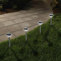 4 PACK STAINLESS STEEL SOLAR POWERED DIAMOND STAKE LIGHTS GARDEN BORDER LANTERNS