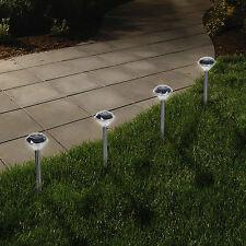 Paquete De 4 De Acero Inoxidable accionado por energía solar Diamante Juego De Luces De Jardín frontera Linternas
