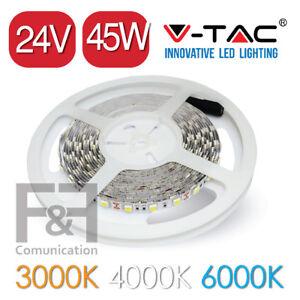 STRISCIA LED 24V 5050 VTAC 45W 5 METRI V-TAC ADESIVA STRIP LED 3000 LUMEN