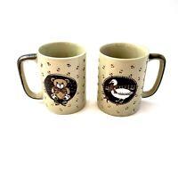 Vintage Otagiri Teddy Bear and Goose Coffee Tea Mug Cup Embossed Ceramic Lot 2