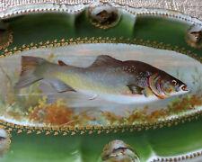 """Huge PM Bavaria Germany Gold Gilded Oval Fish Porcelain Serving Platter 25"""""""