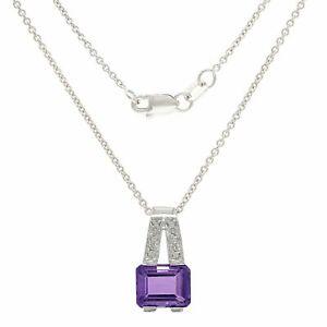 "Italian 14k White Gold Amethyst & Diamond Accent Pendant Necklace 18"""