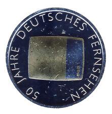 DEUTSCHLAND 10 Euro SILBER 2002 - 50 Jahre Deutsches FERNSEHEN - GOLDAPPLIKATION