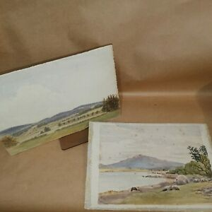 SW Scotland / NW England landscape watercolour paintings, pair. One signed.