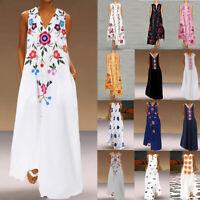 Women Floral Long Shirt Dress Oversized Party Tank Dress Printed Maxi Sundress