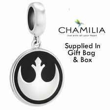 Genuine Chamilia Silver Disney Star Wars Black Rebel Hanging Logo Bracelet Charm