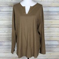 Oska Vada Slub Knit Cotton Shirt Brown Split Neck Drop Shoulders Size 5 US XL