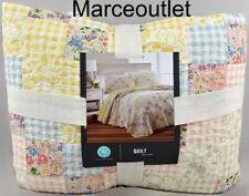 Martha Stewart Checker Floral Reversible King Quilt Yellow Multi