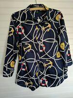 Lauren Ralph Lauren Women's Button Up Blouse Anchor Nautical Size M