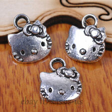 60 pieces 12*11mm Charms Cat Head Pendant Tibetan Silver DIY Jewelry A7082