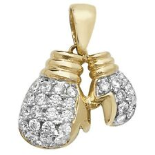 Men's 9ct Gold Cubic Zirconia Double Boxing Glove Necklace