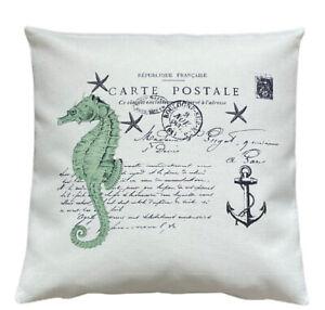*SALE* Seahorse Postcard - 40cm Ivory cushion cover coastal nautical