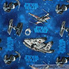 BonEful Fabric FQ Cotton Quilt Blue Sky Dark STAR WARS VTG Space Ship Planet Boy