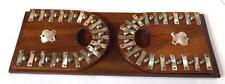 ANTIQUE FOLDING ADJUSTABLE MAHOGANY BOOK SHELF WITH MOTHER OF PEARL DECORATION