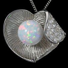 925 Silver Heart Pendant necklace #1 Alducchi White Rainbow lab Fire Opal -Cz